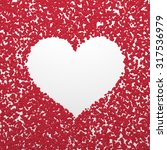white simple heart on red... | Shutterstock . vector #317536979