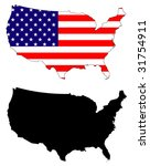 drawing of map and flag of usa. | Shutterstock . vector #31754911
