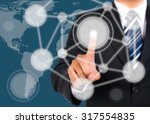 businessman pushing on empty... | Shutterstock . vector #317554835