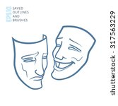 theater masks  drama and comedy | Shutterstock .eps vector #317563229