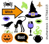 cute set of halloween witch... | Shutterstock .eps vector #317566115