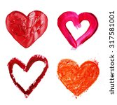 collage of painted heart... | Shutterstock . vector #317581001