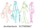 fashion sketches | Shutterstock .eps vector #317585867