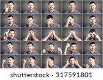 mosaic of young man expressing... | Shutterstock . vector #317591801