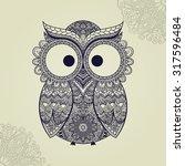 Stock vector boho ornamental owl illustration ethnics abstract doodle on floral background sketch of totem 317596484
