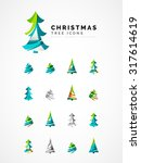 set of abstract christmas tree... | Shutterstock .eps vector #317614619