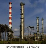 Detailed view of an aromatics plant with their distillery towers. - stock photo