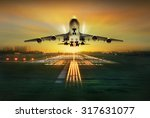 passenger plane fly up over... | Shutterstock . vector #317631077