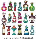 a set of magic potion bottles... | Shutterstock .eps vector #317640467