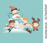 funny kids playing snowball... | Shutterstock .eps vector #317643569