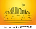 Stock vector qatar city line silhouette typographic design 317675051