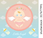 cute angel baby with milk bottle | Shutterstock .eps vector #317677991