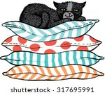 Stock vector quirky hand drawn vector sketch of a black cat sitting comfortably on top of a pile of cushions 317695991