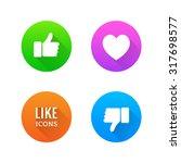 like  dislike  heart icons with ... | Shutterstock .eps vector #317698577