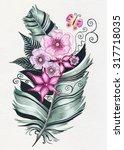 feather   flower illustration ...   Shutterstock . vector #317718035