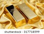 Gold Bars On Golden Silk