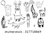 sketch of a group of cats and... | Shutterstock .eps vector #317718869
