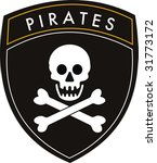 vector pirates crest flag on... | Shutterstock .eps vector #31773172