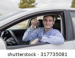 smiling young man holding his... | Shutterstock . vector #317735081