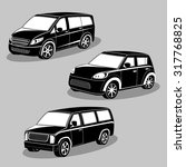 vector black and white cars... | Shutterstock .eps vector #317768825