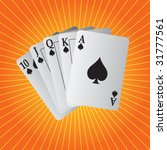 royal flush playing cards on... | Shutterstock .eps vector #31777561
