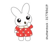 cute cartoon bunny girl in a... | Shutterstock .eps vector #317785619