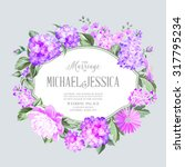 invitation card with violet... | Shutterstock .eps vector #317795234
