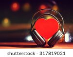 Decorative heart and headphones ...