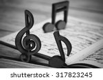 Wooden Music Notes And A...