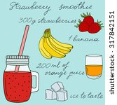 strawberry smoothies hand drawn ... | Shutterstock .eps vector #317842151