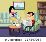 happy man and woman reading a... | Shutterstock .eps vector #317847059