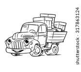old cartoon truck | Shutterstock .eps vector #317863124