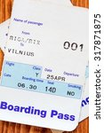 Small photo of Air travel boarding pass from Riga to Vilnius