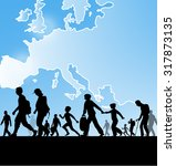 immigration people on europe... | Shutterstock .eps vector #317873135