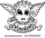 skull with wings vector... | Shutterstock .eps vector #317904554