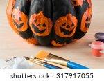 Close Up Of Painting  A Pumpki...