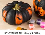 Close Up Of Painted Pumpkin Fo...