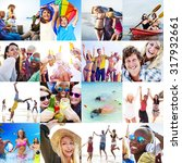collage diverse faces summer... | Shutterstock . vector #317932661