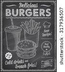 a grunge chalkboard fast food... | Shutterstock .eps vector #317936507