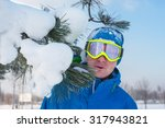 cheerful snowboarder in sun... | Shutterstock . vector #317943821