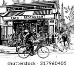 Old Cafe In Paris   Vector...