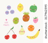 cute set with smiley fruits in... | Shutterstock .eps vector #317962595
