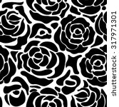 seamless black roses retro... | Shutterstock .eps vector #317971301