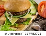 hot bbq burger with meat ... | Shutterstock . vector #317983721