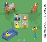 video call isometric flat... | Shutterstock .eps vector #317995745