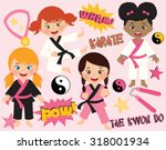 karate girls | Shutterstock .eps vector #318001934