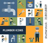 plumber tools equipment and... | Shutterstock . vector #318018809