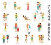 people on vacation beach party... | Shutterstock . vector #318020741