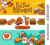 fast food restaurant colored... | Shutterstock . vector #318023285