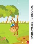 illustration of jumping monkey   Shutterstock . vector #31802926